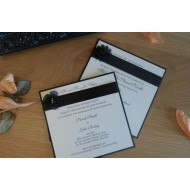Pearlised Black Evening Invitation Flat - Ivory