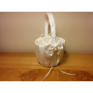 Diamante and Satin Flower Basket for wedding ceremony - White Ivory
