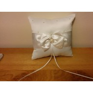 Diamante and Satin Ring Cushion for wedding ceremony - White Ivory