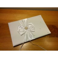 Diamante and Satin Guest Book for wedding ceremony - White Ivory