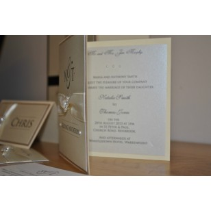 Pearlised Diamante Day Invitation - Ivory