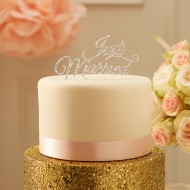 Sparkling Just Married Cake Topper - Silver - Pastel Perfection