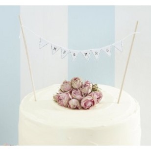 Mr and Mrs Wedding cake Bunting - White - Vintage Affair