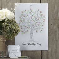 Green Finger Print Tree - Vintage Affair - Alternative Guest Book
