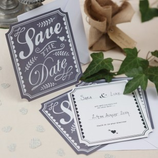 Save the Date Cards - Vintage Affair - Chalkboard Style