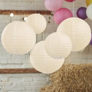 Ivory Paper Lantern Decorations - Boho