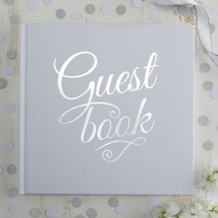 White & Silver Foiled Wedding Guest Book - Metallic Perfection
