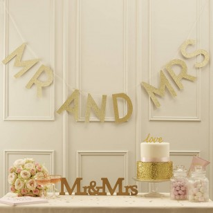 Gold Glitter Mr And Mrs Bunting - Pastel Perfection