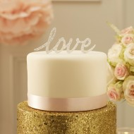 Sparkling Love Cake Topper - Silver - Pastel Perfection