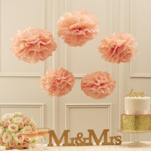Tissue Paper Pom Poms - Pastel Pink - Pastel Perfection