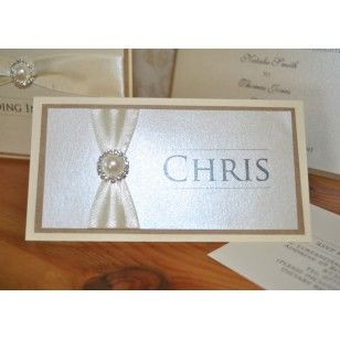 20x Pearlised Diamante Place Cards - Ivory