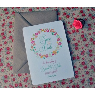 Floral Save the Date Card (Sold in 10's)
