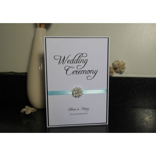 vintage pearl range order of service wedding ceremony booklet