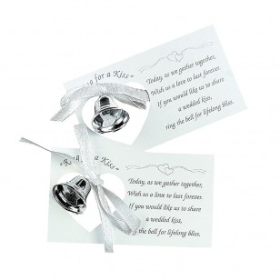 50 x Silvertone Wedding Bell on A Card