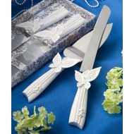 Butterfly design cake knife and server set