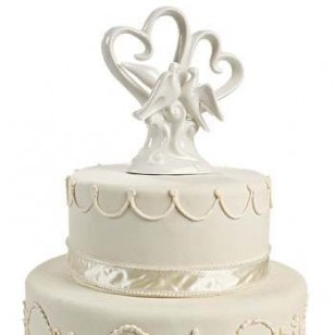 Ceramic heart and doves Wedding Cake Topper