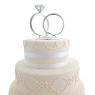 Glass Wedding Ring Cake Topper