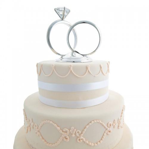 Glass Wedding Ring Cake Topper