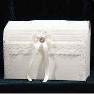 Ivory Elegant Wedding Card Post Box Decorated with Lace