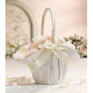Large Satin Basket Ivory