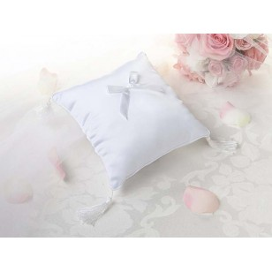 Plain Satin Ring Pillow White