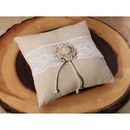 Rustic collection Burlap and Lace ring pillow