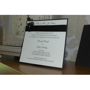 Pearlised Black Day Invitation Flat - Ivory