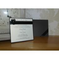 Pearlised Black Day Invitation Flat - Ivory