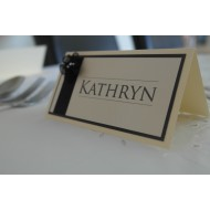 25x Pearlised Black Place Cards - Ivory