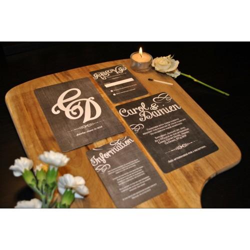 Chalk board inspired bespoke wedding invitation stopboris Choice Image