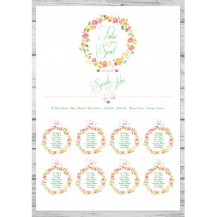 Floral Watercolour Table Plan A2 in Size