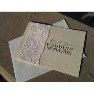 Lace with Golden Font Invitation - Flat