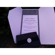 Pearlised Black Pocket Invitation - 7 Pearl