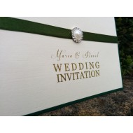 Forest Green with Gold Pouch Invitation