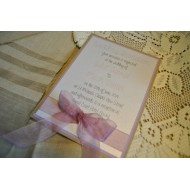 Invitation with Pearlised front, coloured centre and Recycled card back - Flat