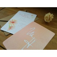 Watercolour flowers - Flat Invitation with personalised envelope