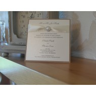 Pearlised Diamante Day Invitation Flat - Ivory